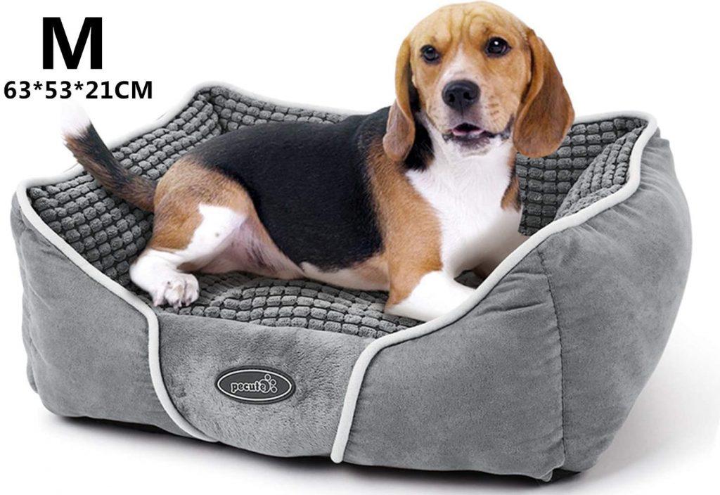 cama para perros de color gris, marca pecute